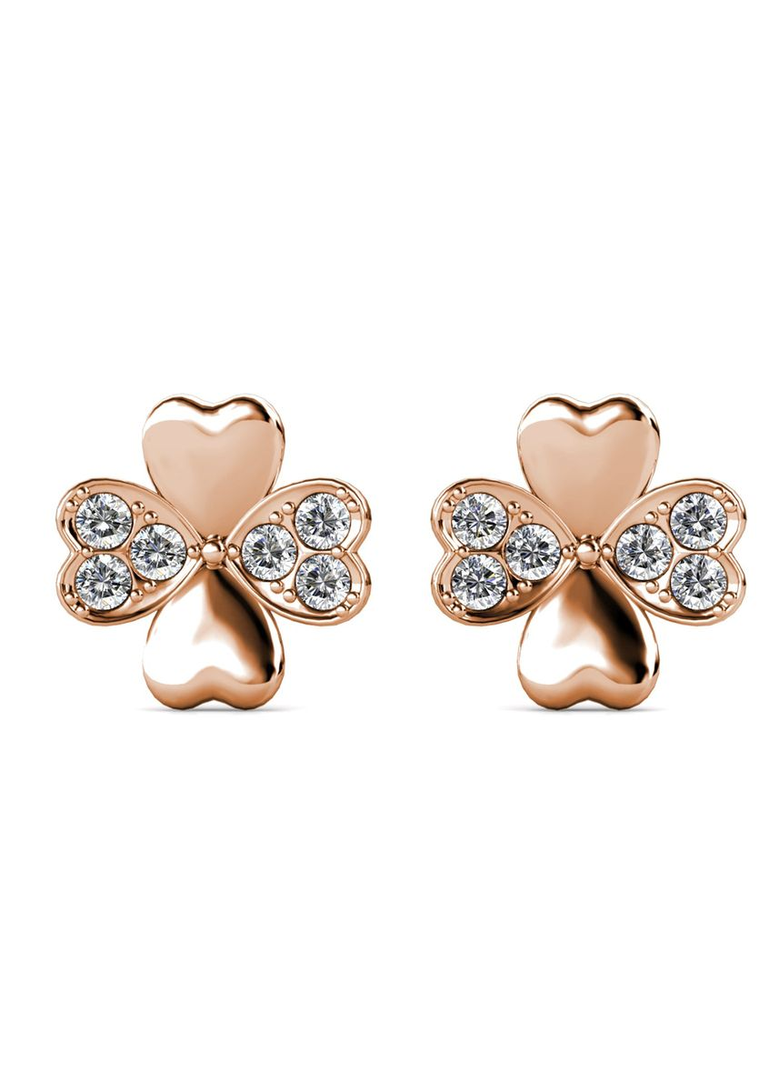 Pink color  . Sweet Clover Earrings - Embellished with Crystal from Swarovski® -