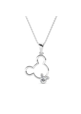 Silver color  . Mickey Bear Pendant (White Gold) - Embellished with Crystals from Swarovski® -
