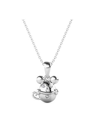 Silver color  . Mice In The Cup Pendant (White Gold)- Embellished with Crystals from Swarovski® -