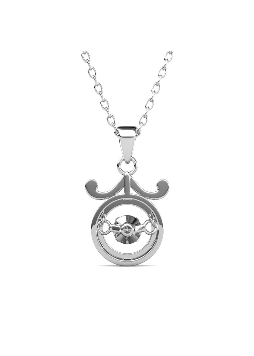Silver color  . 12 Dancing Horoscope Pendant (Libra) - Embellished with Crystals from Swarovski® -