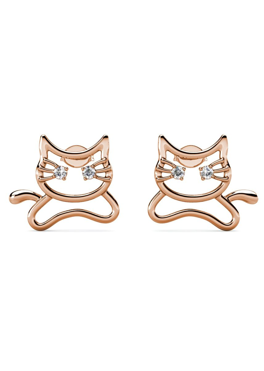 Pink color  . Meowy Earrings - Embellished with Crystals from Swarovski® -