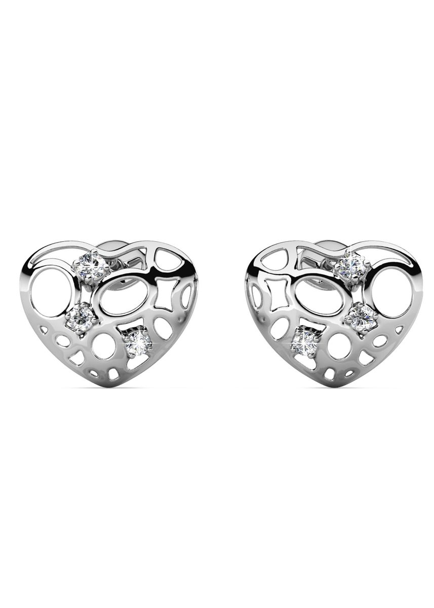 Silver color  . Arena Earrings (White Gold) - Embellished with Crystals from Swarovski® -