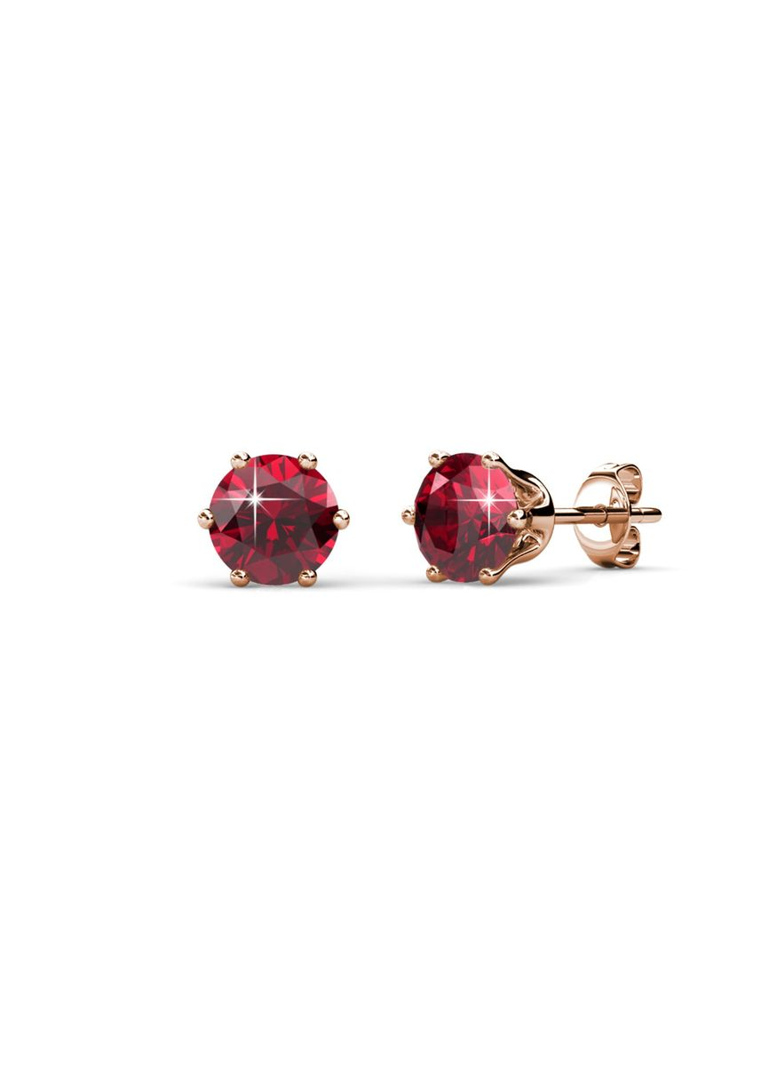 Pink color  . Birth Stone Earrings (January, Rose Gold) - Embellished with Crystals from Swarovski® -