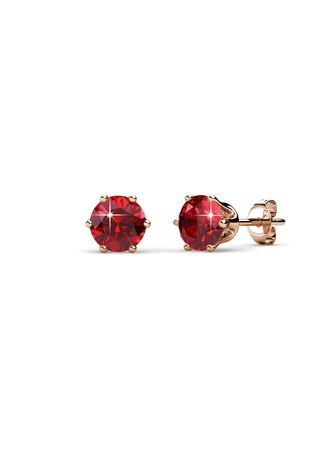Pink color  . Birth Stone Earrings (July, Rose Gold) - Embellished with Crystals from Swarovski® -