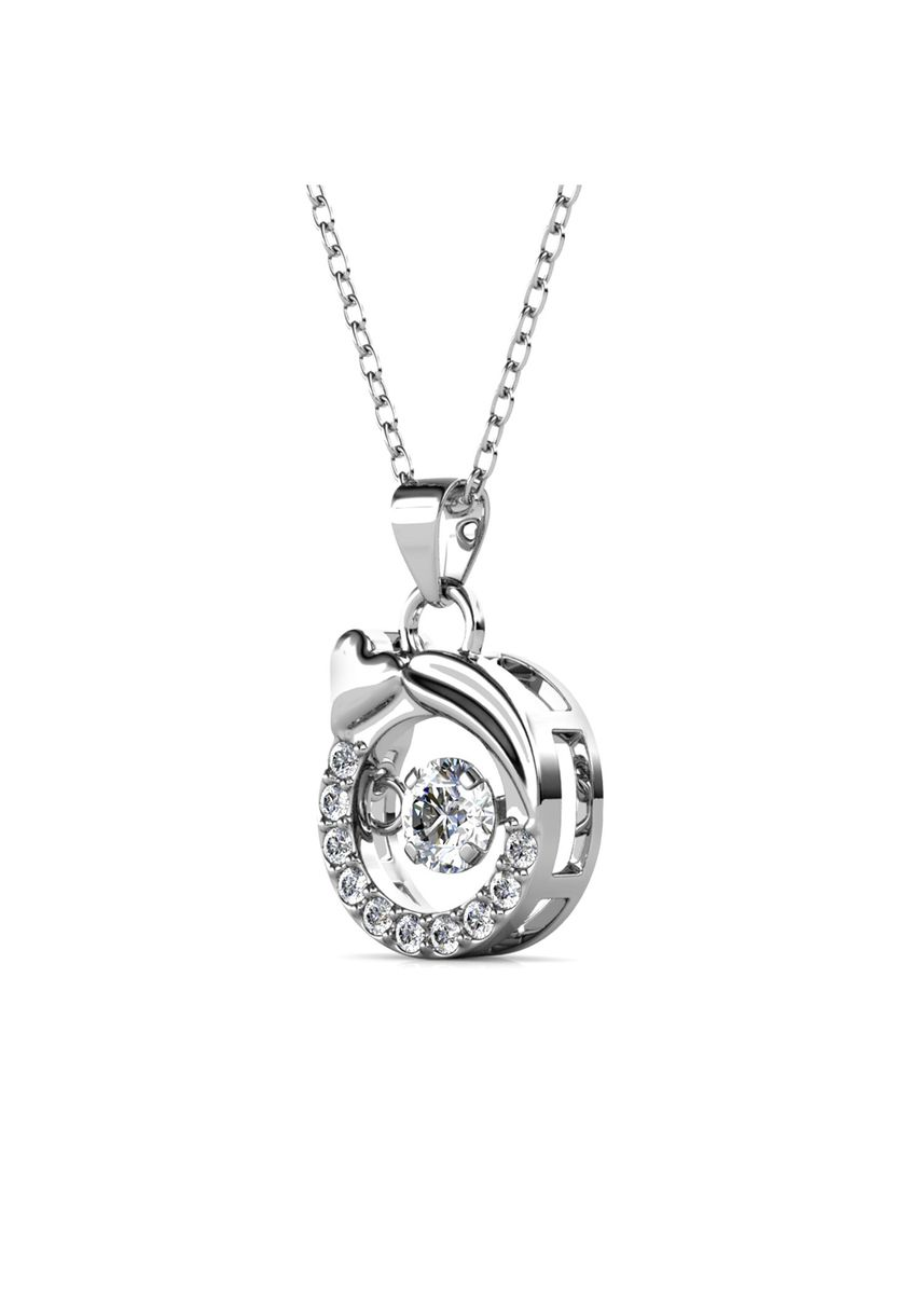 Silver color  . 12 Dancing Horoscope Pendant (Virgo) - Embellished with Crystals from Swarovski® -