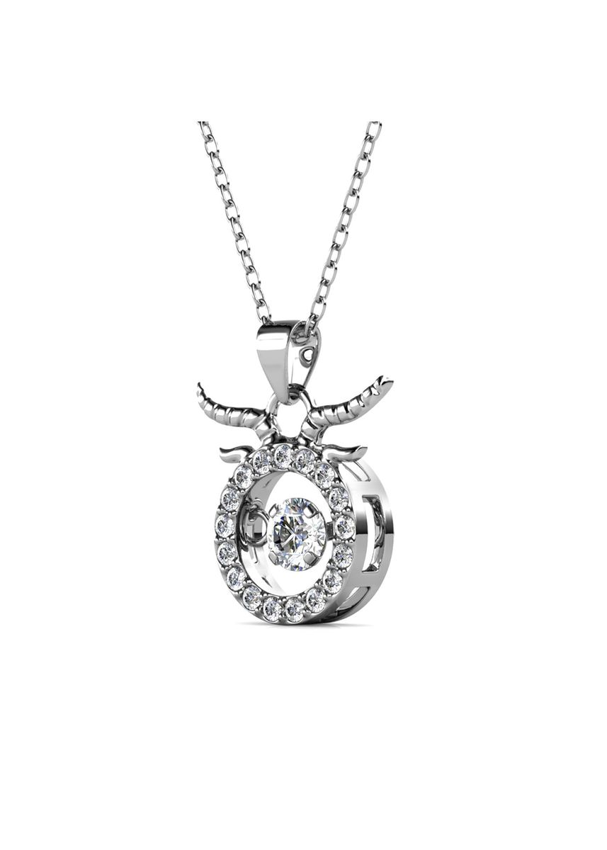 Silver color  . 12 Dancing Horoscope Pendant (Taurus) - Embellished with Crystals from Swarovski® -