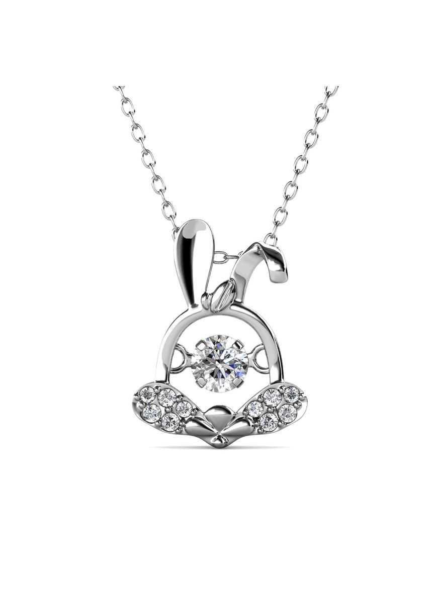 Silver color  . 12 Dancing Zodiac Pendant Rabbit - Embellished with Crystals from Swarovski® -