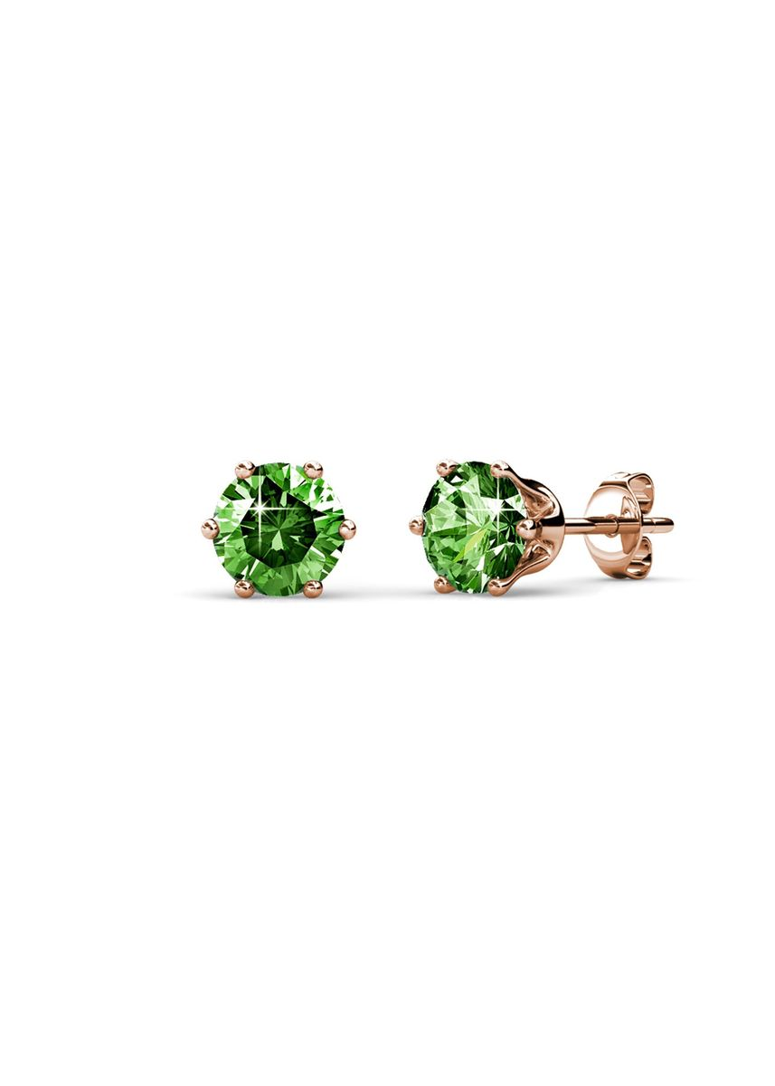 Pink color  . Birth Stone Earrings (August, Rose Gold) - Embellished with Crystals from Swarovski® -