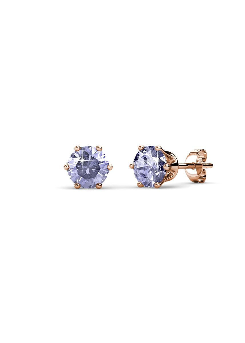 Pink color  . Birth Stone Earrings (June, Rose Gold) - Embellished with Crystals from Swarovski® -