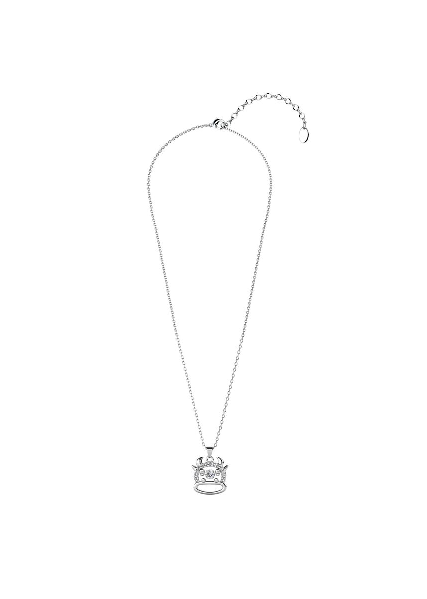 Silver color  . 12 Dancing Zodiac Pendant Ox - Embellished with Crystals from Swarovski® -