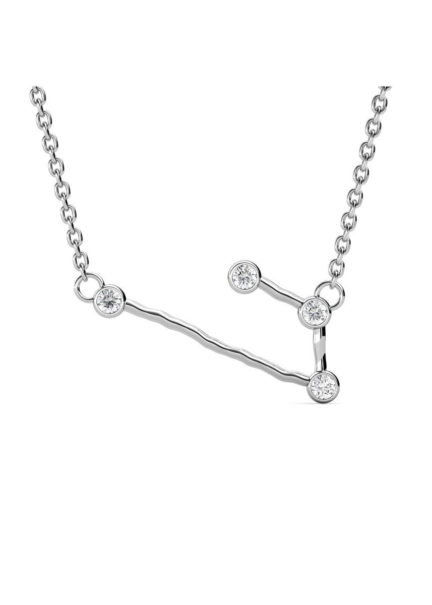 Silver color  . Aries Pendant (White Gold) - Embellished with Crystals from Swarovski® -