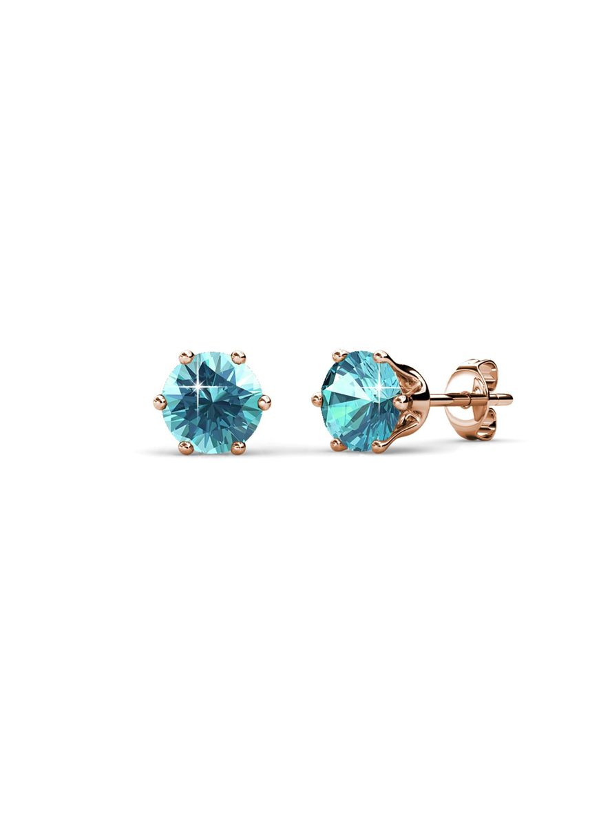 Pink color  . Birth Stone Earrings (December, Rose Gold) - Embellished with Crystals from Swarovski® -
