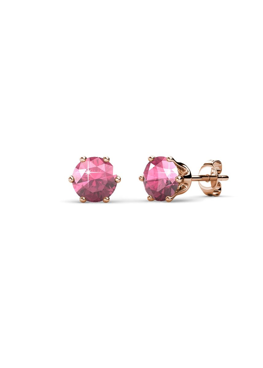 Pink color  . Birth Stone Earrings (October, Rose Gold) - Embellished with Crystals from Swarovski® -