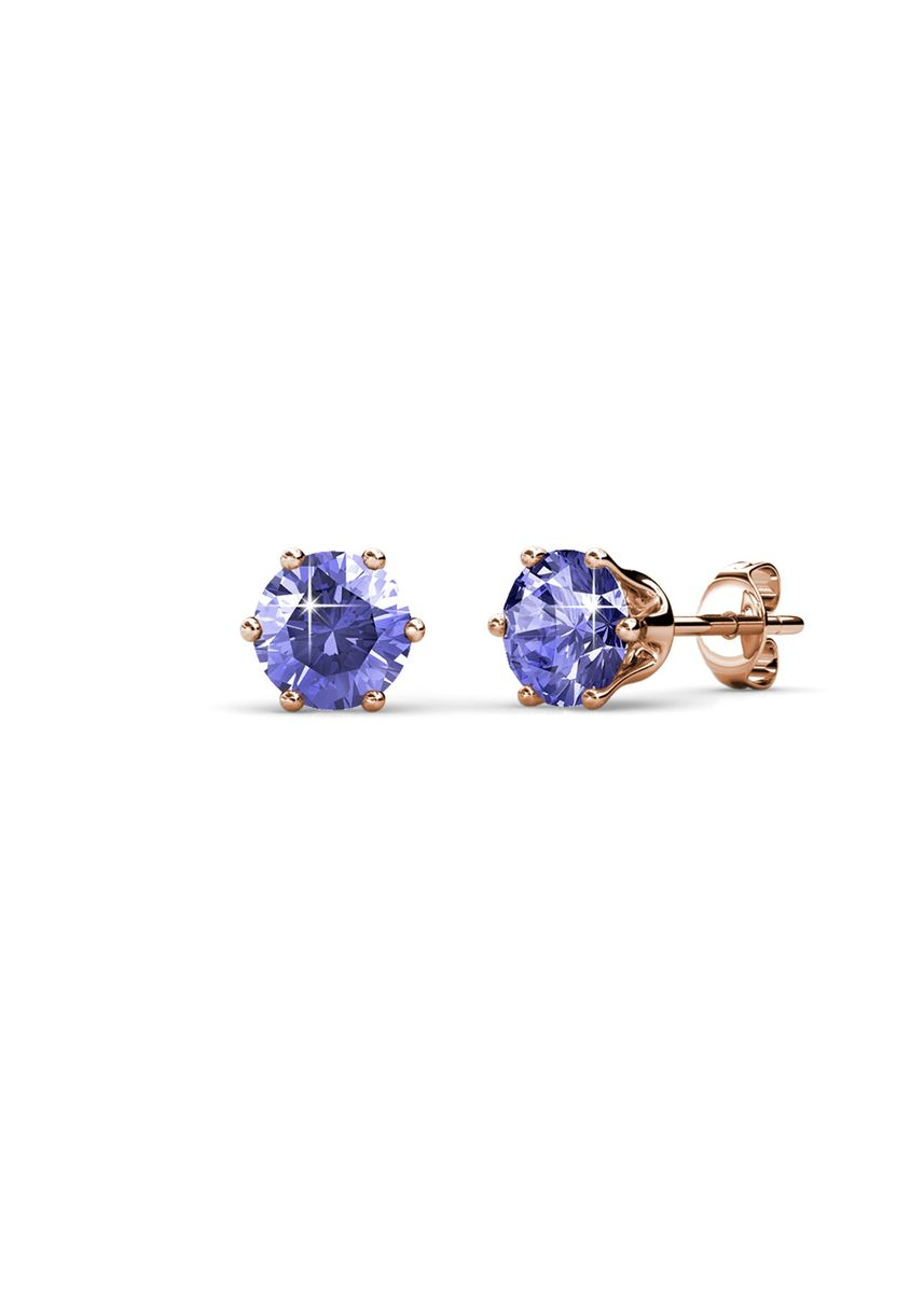 Pink color  . Birth Stone Earrings (February, Rose Gold) - Embellished with Crystals from Swarovski® -