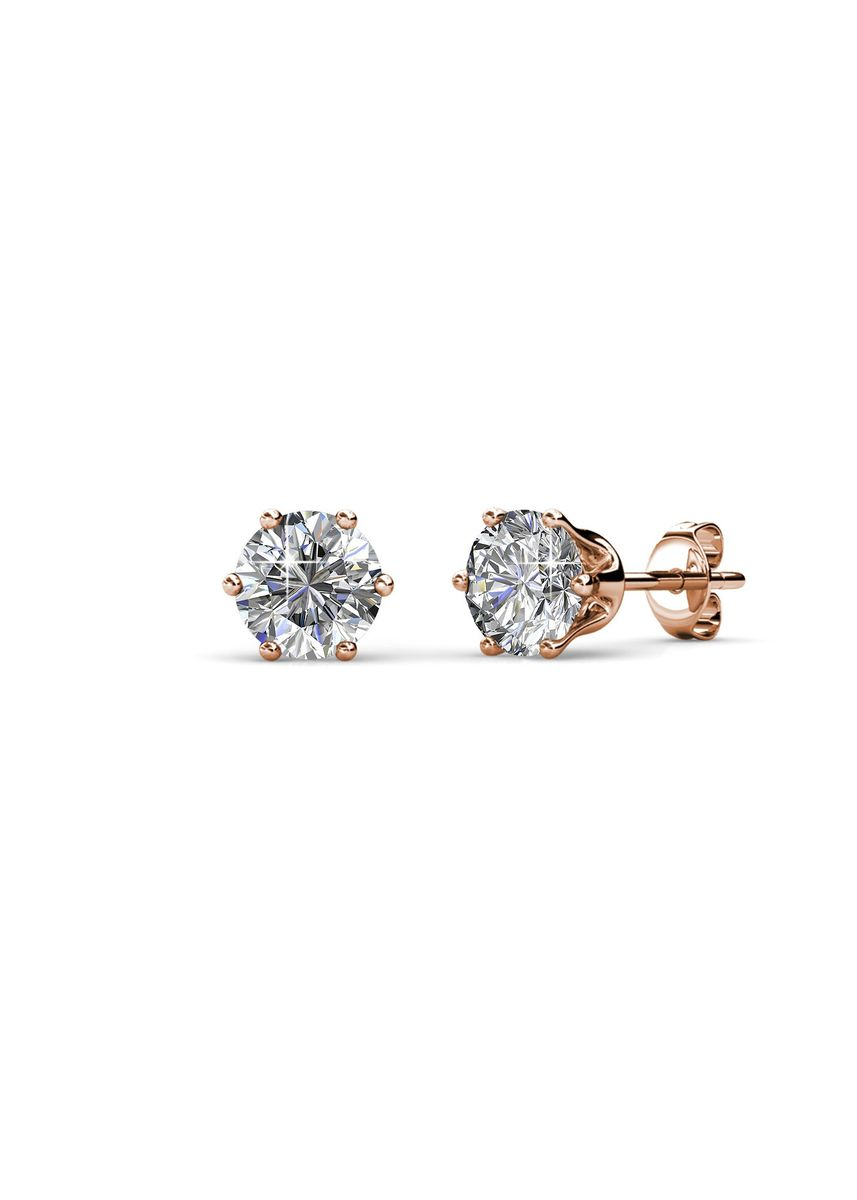 Pink color  . Birth Stone Earrings (April, Rose Gold) - Embellished with Crystals from Swarovski® -