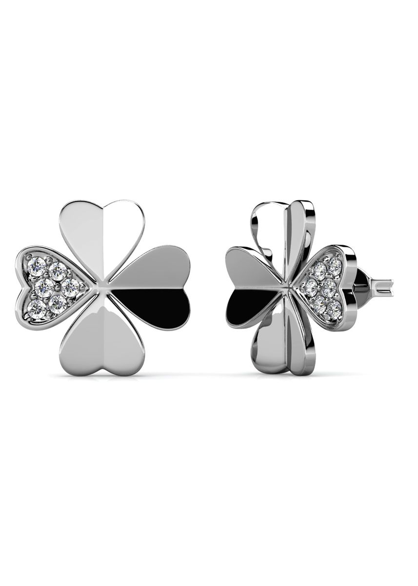 Silver color  . Dervla Earrings (White Gold) - Embellished with Crystals from Swarovski® -