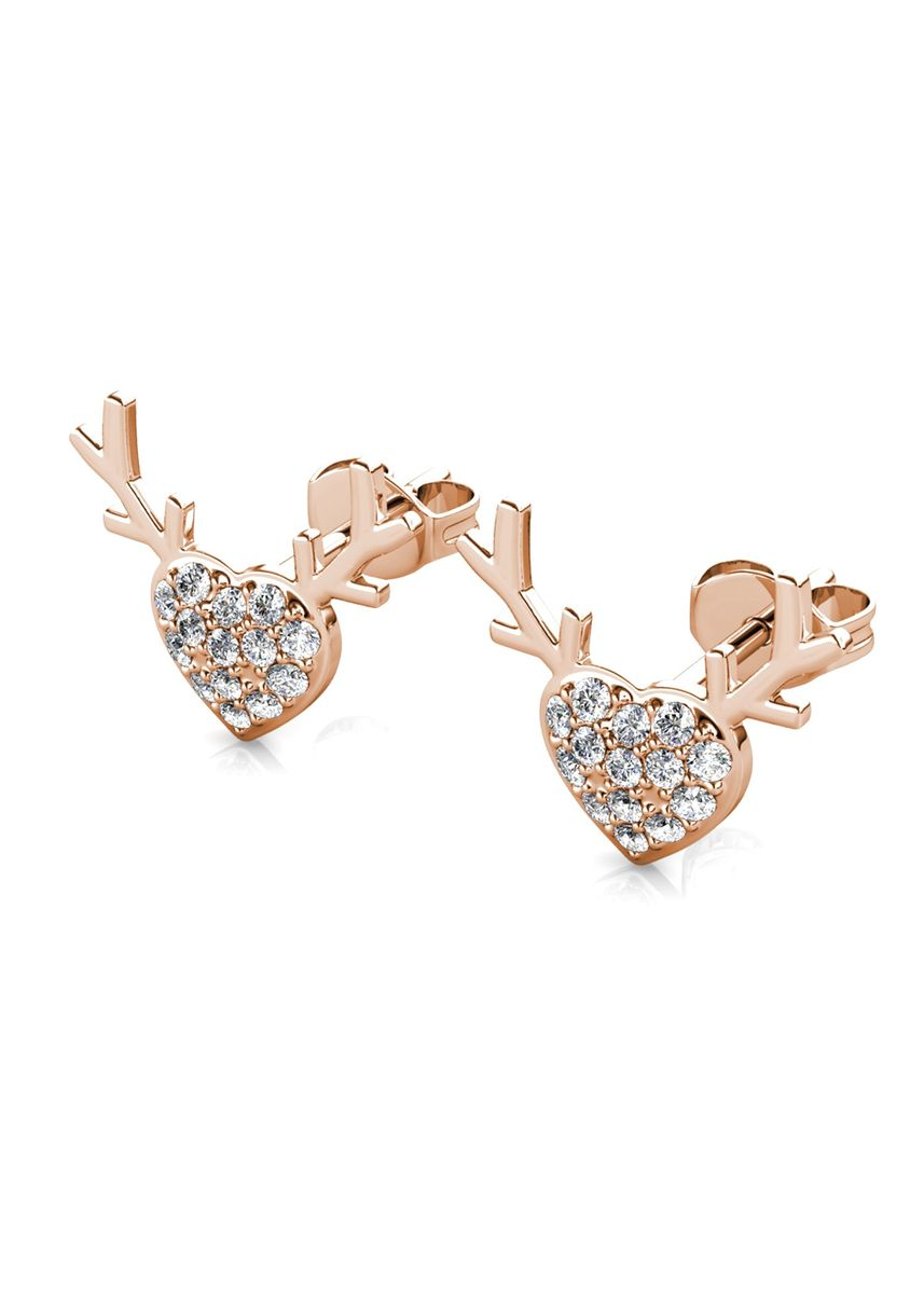 Pink color  . Antler Love Earrings- Embellished with Crystals from Swarovski® -