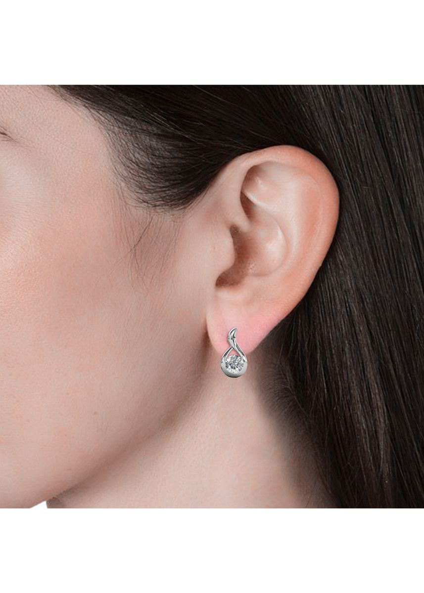 Silver color  . Wavvy Earrings - Embellished with Crystals from Swarovski® -