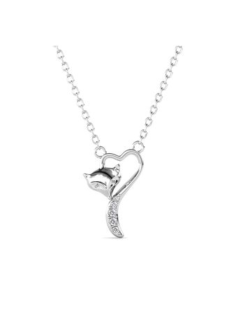 Silver color  . Fox Love Pendant - Embellished with Crystals from Swarovski® -