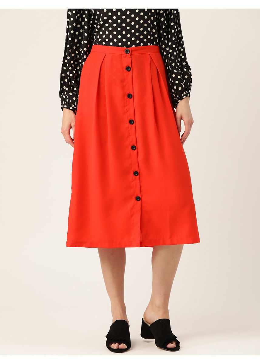 Orange color Skirts . Women Red Solid Midi A-line Skirt -