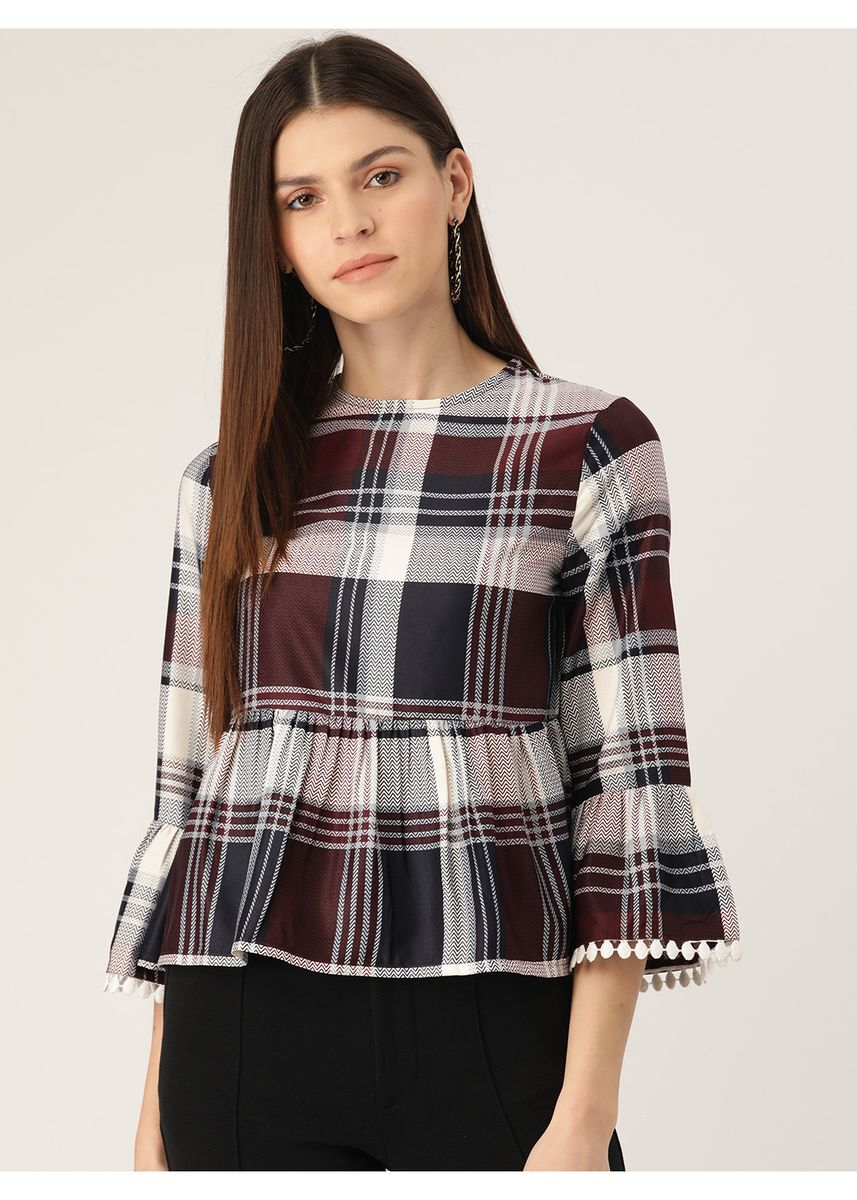 Multi color Tops and Tunics . Women Off-White & Navy Blue Checked Peplum Top -