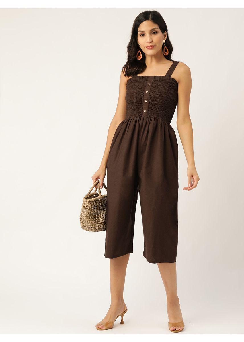 Brown color Jump Suits . Women Brown Solid Smocked Culotte Jumpsuit -