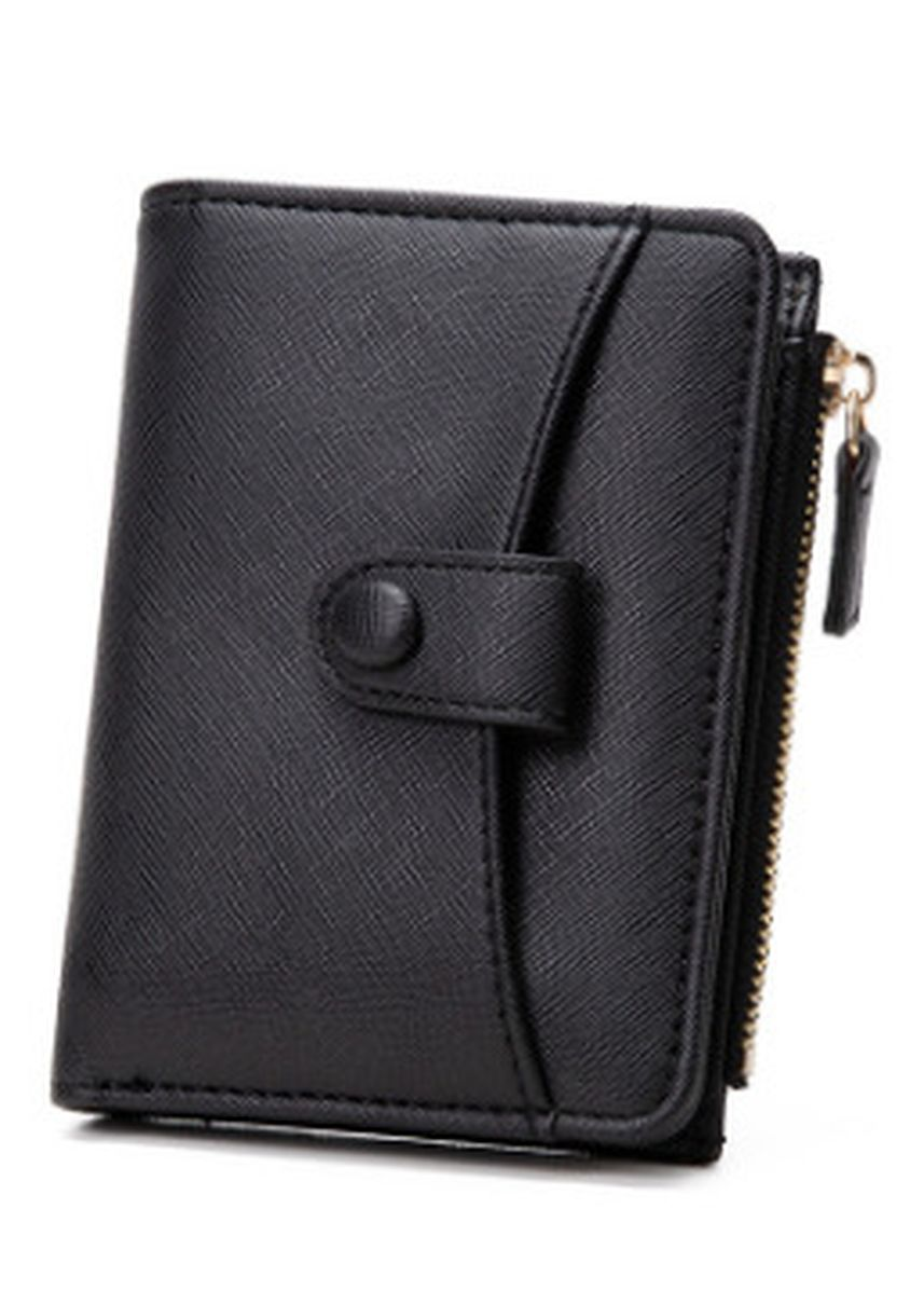 Black color Wallets and Clutches . Short Cross Pattern Zipper Buckle Multi-card Pocket Wallet -