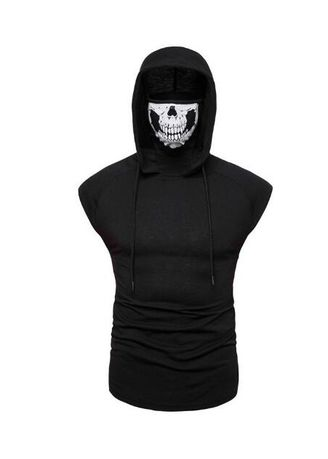 T-Shirts and Polos . Stretch Fitness Skull Mask Men's Hooded Sleeveless T-shirt -
