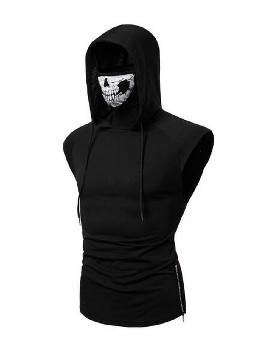 Black color T-Shirts and Polos . Stretch Fitness Skull Mask Men's Hooded Sleeveless T-shirt -