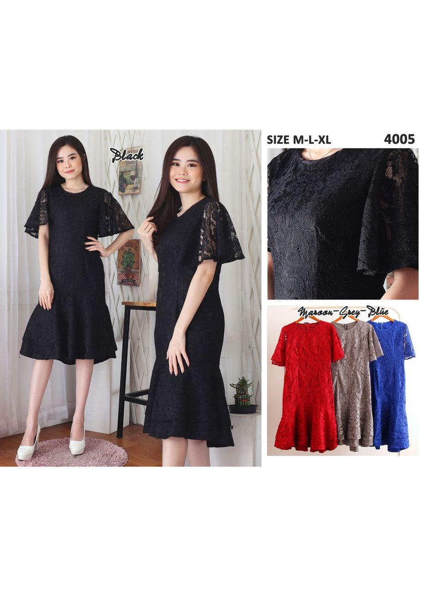 Hitam color Terusan/Dress . Dress Brokat Prancis -