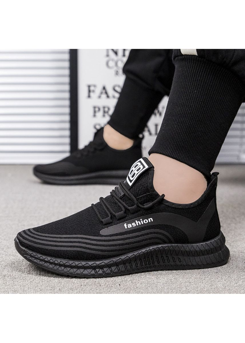 Black color Sports Shoes . Casual Flying Knit Sneakers Fashion Men's Sport Shoes -