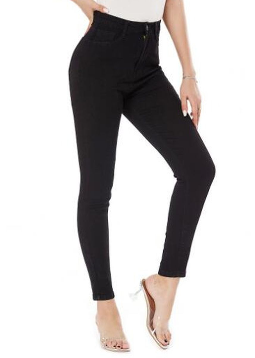 Black color Jeans . Stretch Wash Slim Fit Women's Short Pants -