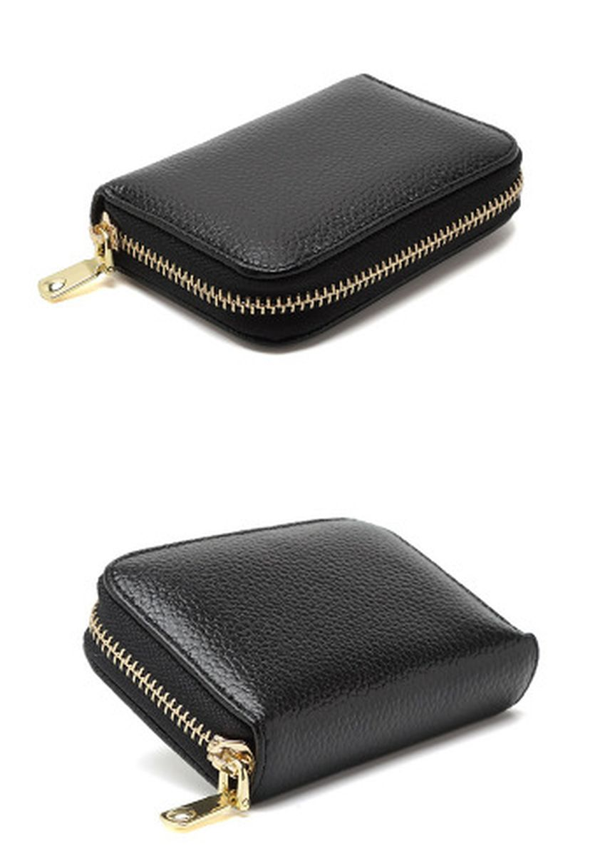 Black color Wallets and Clutches . Cowhide Organ Card Holder Multifunctional Small Wallet -