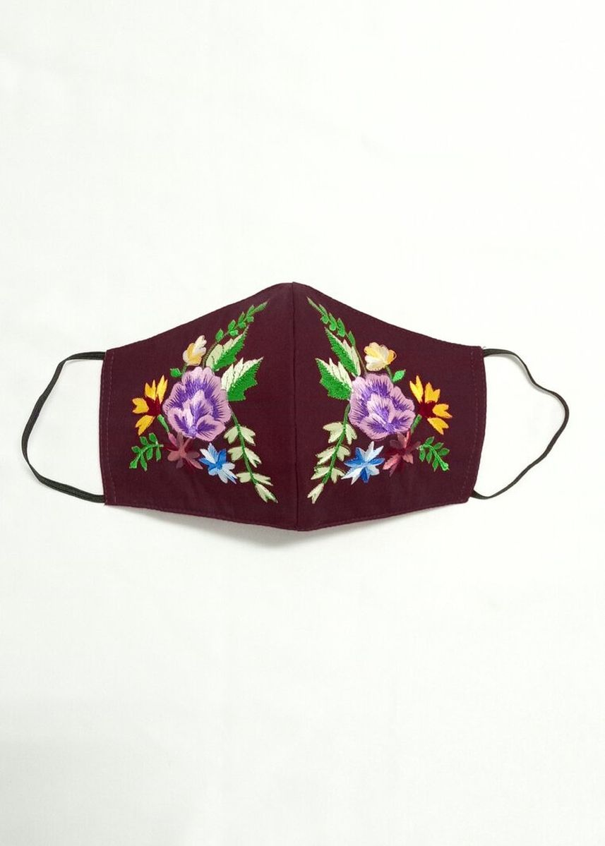 Maroon color Masker . Embroidery Mask 07 -