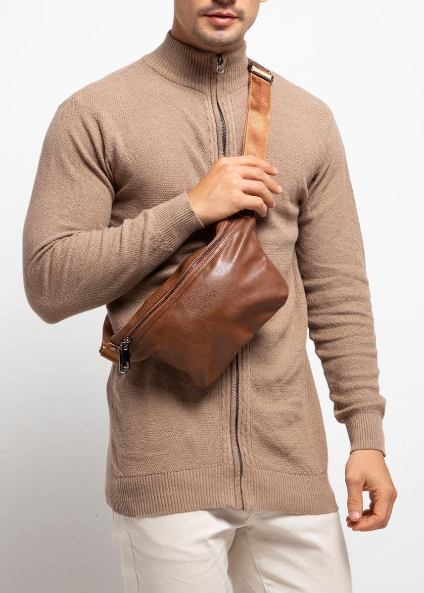 Tan color Messenger Bags . Urban State - Distressed Leather Small Bumbag -