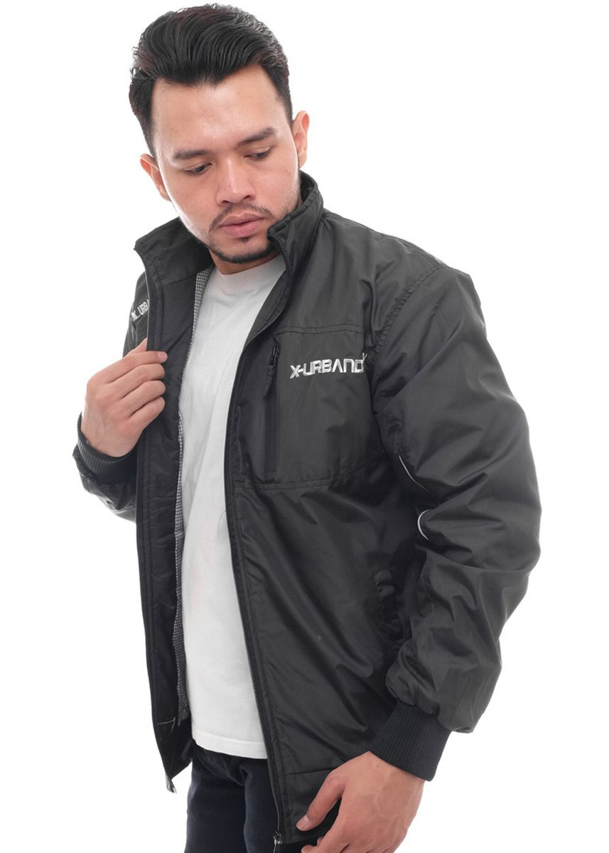 Black color Outerwear . X-Urband Official - Jaket Casual Pria (Hitam) A001 -