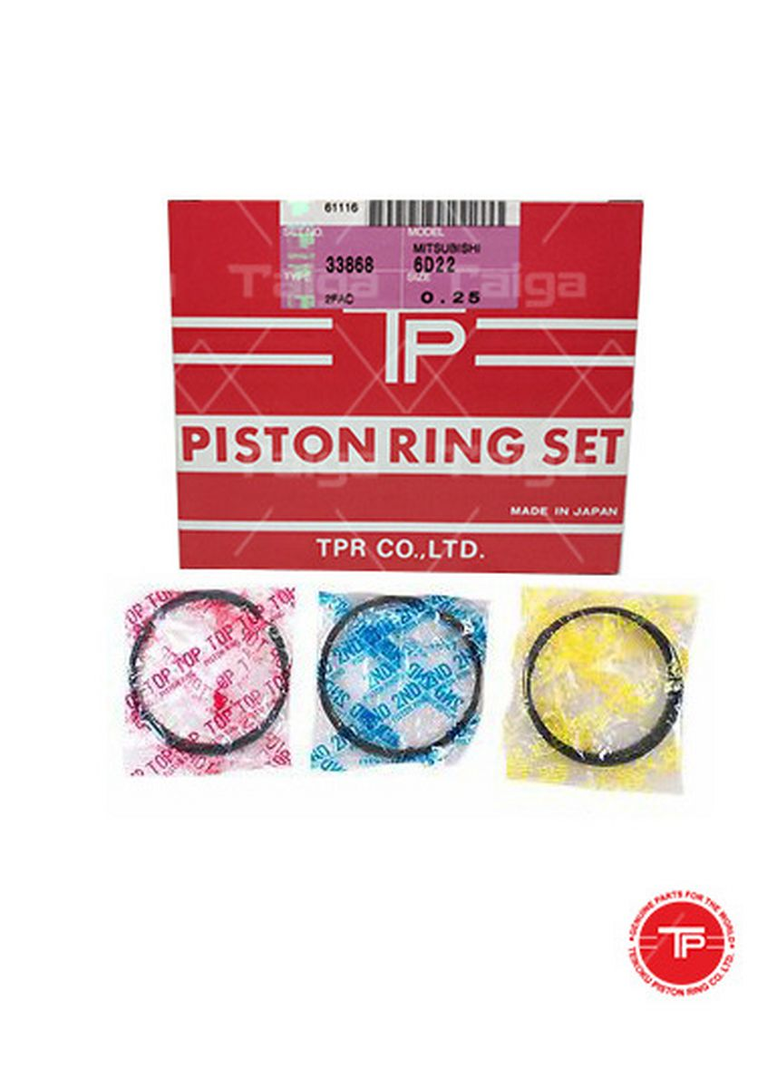 No Color color Piston Systems . TP Piston Ring 33868-0.25 set of  6 for  Mitsubishi Truck, Bus, 6D22, 6D22T -