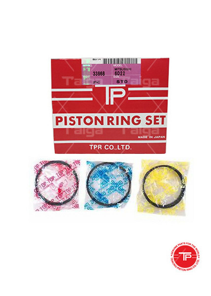 No Color color Piston Systems . TP Piston Ring 33868-STANDARD set of  6 for  Mitsubishi Truck, Bus, 6D22, 6D22T -