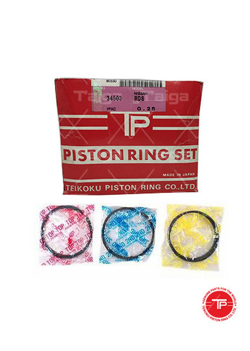 No Color color Piston Systems . TP Piston Ring 34503-0.25 set of  8 for  Nissan Truck, Bus, RD8 -