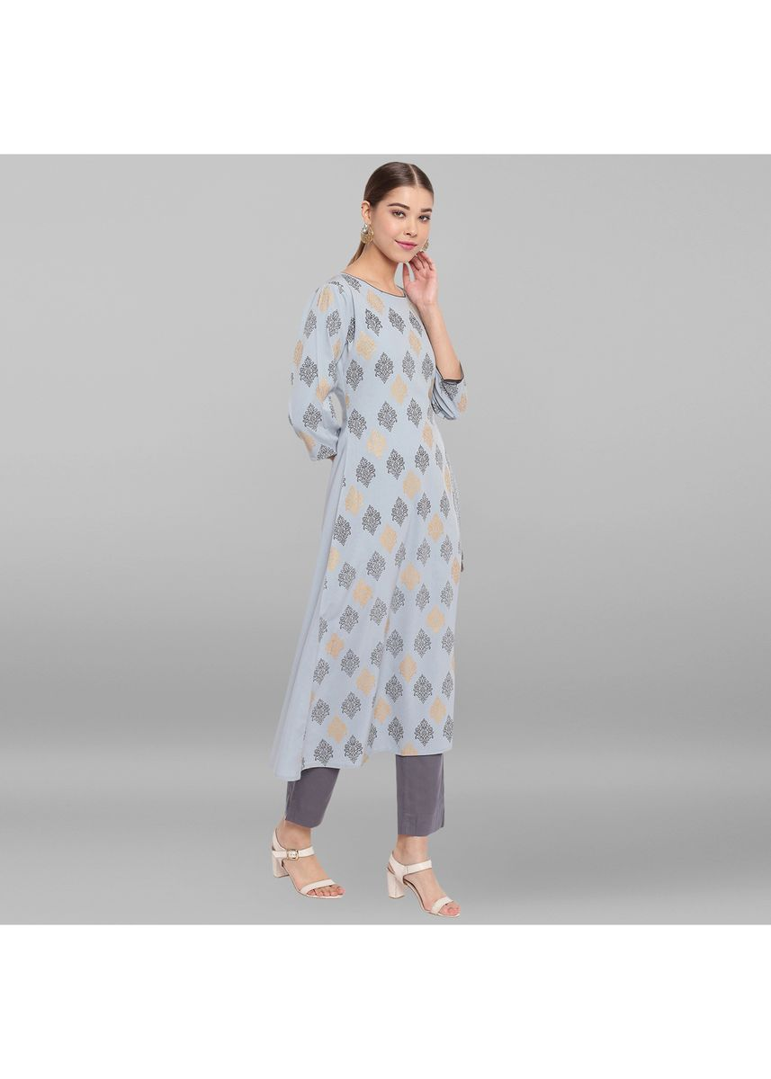 Blue color Dresses . Janasya Women's Powder Blue Poly Crepe Kurta -