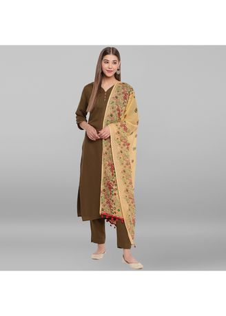 Olive color Salwar Suit . Janasya Women's Olive Green Rayon Kurta With Pant And Dupatta -