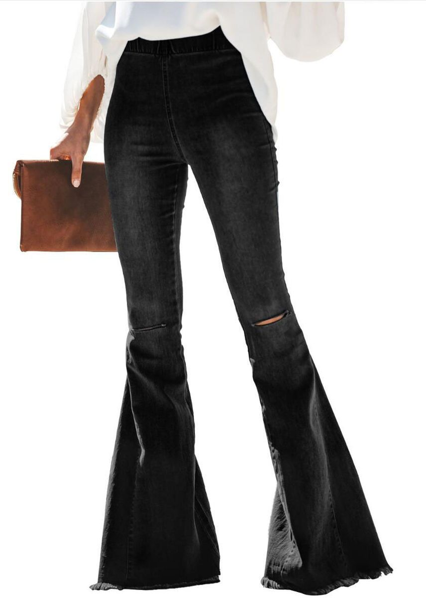 Black color Jeans . Women's High-waist With Ripped Knee Stretch Jeans -