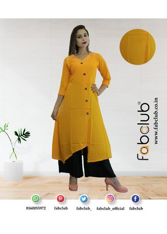 Yellow color Kurtas & Kurtis . Mustard Yellow Asymmetric Rayon Kurti -