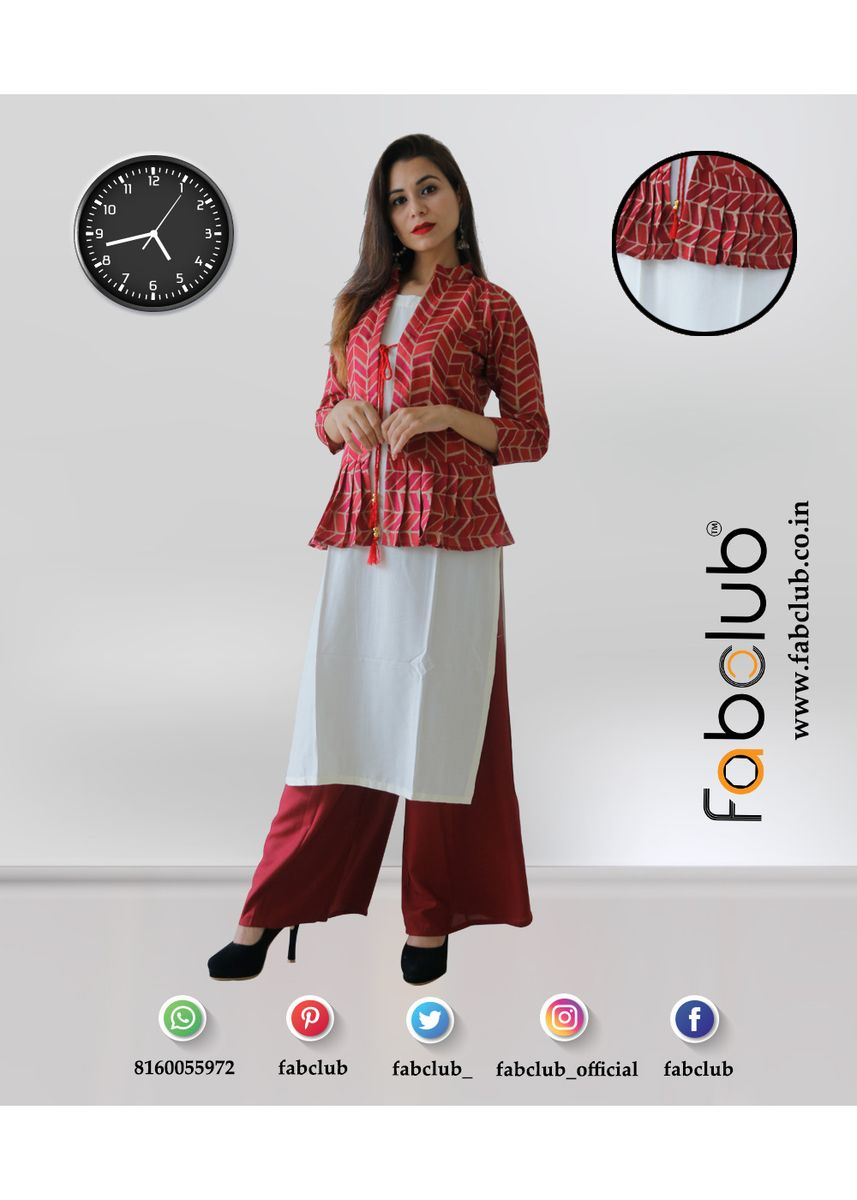 Multi color Kurtas & Kurtis . Rayon Kurti With Ethnic Jacket -