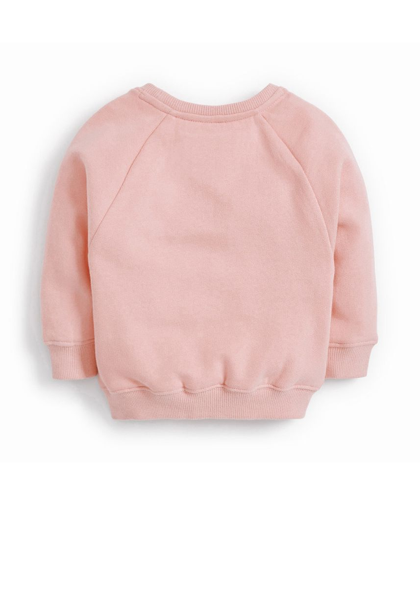 Pink color Tops . French Terry Long Sleeve Embroidered Children's Top -