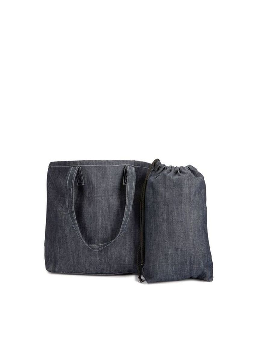 Navy color Hand Bags . Bailey Carry-All Denim Beach Bag Set (2-in-1) -