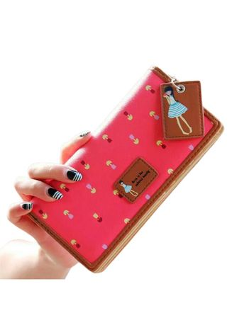 Red color Wallets and Clutches . Dompet Wanita Doll -