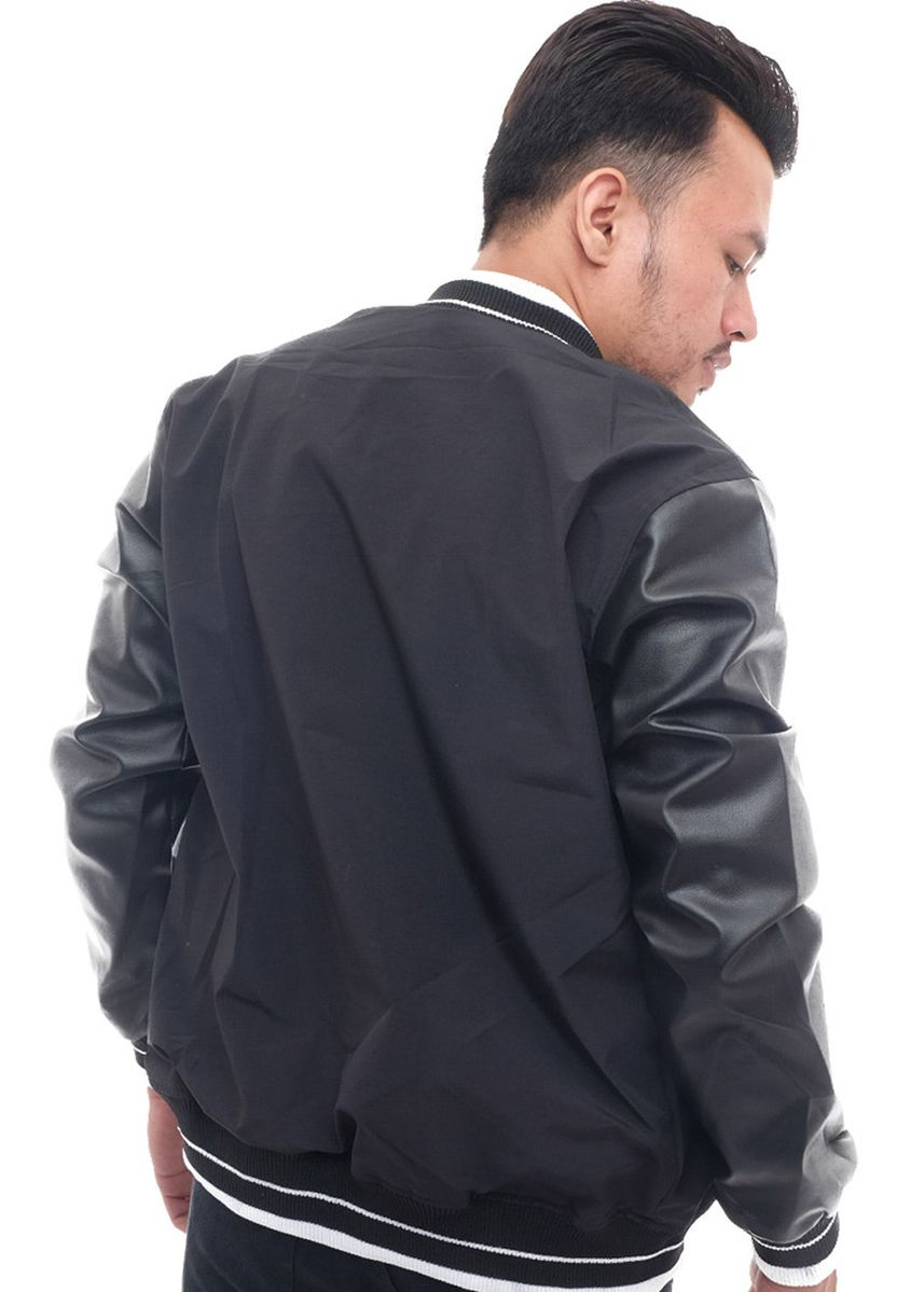 Black color Outerwear . X-Urband Official - Jaket Varsity Pria (Hitam) A033 -