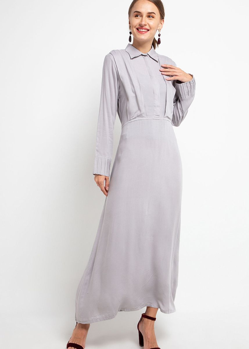 Abu-Abu color Terusan/Dress . Hazelnut Peony Dress - Ash Grey -