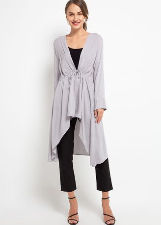 Grey color Outerwear . Hazelnut Paz Outer - Cardigan - Ash Grey -